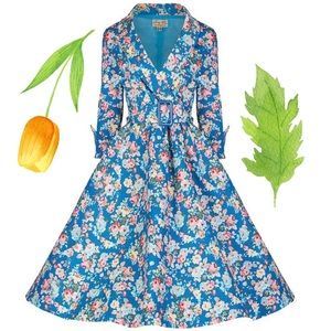 Lindy Bop Vivi Spring Garden Blue Floral Dress XL